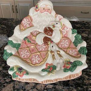 FITZ & FLOYD VINTAGE 1996 CHRISTMAS SANTA PLATE